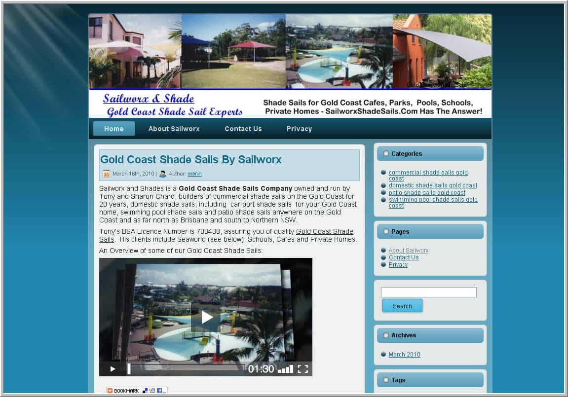 Gold Coast Business Web Design -Shade Sails website